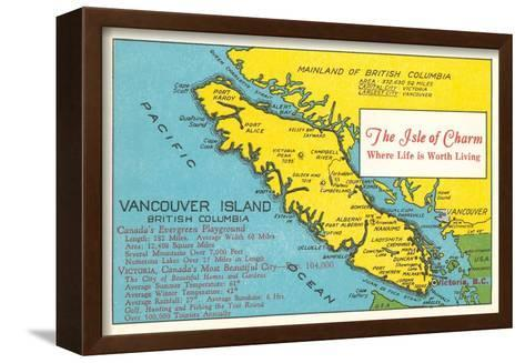 Map of Vancouver Island, British Columbia--Framed Canvas Print