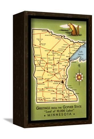 Map of Minnesota--Framed Canvas Print