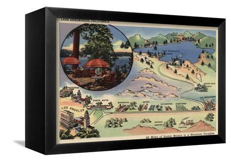Lake Arrowhead, California - Detailed Map from LA to the Lake-Lantern Press-Framed Canvas Print