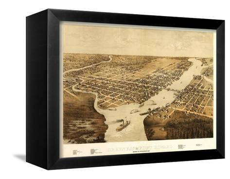 Green Bay, Wisconsin - Panoramic Map-Lantern Press-Framed Canvas Print