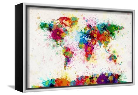 World map paint splashes stretched canvas print by michael tompsett world map paint splashes michael tompsett framed canvas print gumiabroncs Gallery