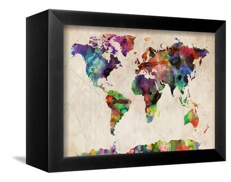 World Map Urban Watercolour-Michael Tompsett-Framed Canvas Print