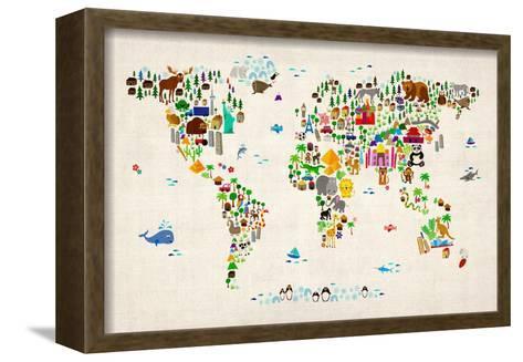 Animal Map of the World-Michael Tompsett-Framed Canvas Print