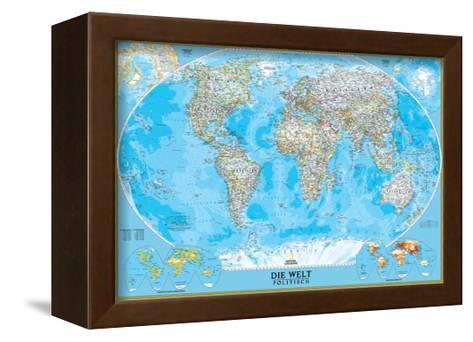 German Classic World Map-National Geographic Maps-Framed Canvas Print