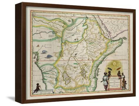 """Map of Ethiopia Showing Five African States, c.1690 G. Blaeu's """"Grooten Atlas"""" of 1648-65--Framed Canvas Print"""