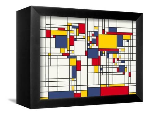 Mondrian Abstract World Map-Michael Tompsett-Framed Canvas Print