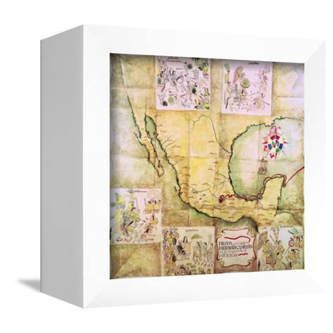 Map of the Route Followed by Hernando Cortes During the Conquest of Mexico--Framed Canvas Print