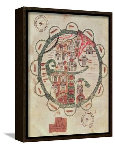 """World Map with Jerusalem in the Centre, from """"Chroniques de St. Denis"""", circa 1275--Framed Canvas Print"""