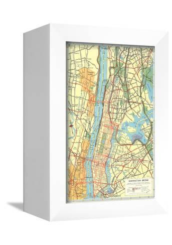 Map of Manhattan and Bronx, New York--Framed Canvas Print
