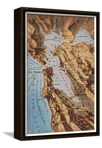 Relief Map of Bay Area, San Francisco, California--Framed Canvas Print