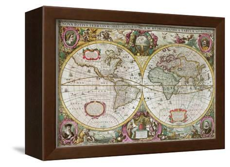 A New Land and Water Map of the Entire Earth, 1630-Henricus Hondius-Framed Canvas Print