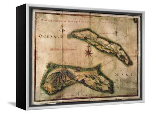 Geographic Map of the Azores, 1587- Portuguese School-Framed Canvas Print