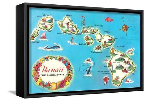 Map of Hawaii--Framed Canvas Print