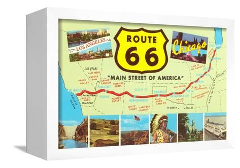 Map of Route 66--Framed Canvas Print
