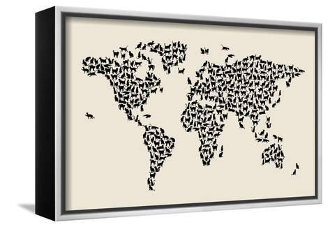 Cats Map of the World Map-Michael Tompsett-Framed Canvas Print