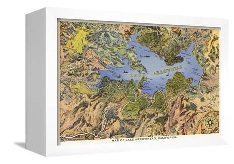 Map of Lake Arrowhead, California--Framed Canvas Print
