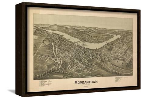Morgantown, West Virginia - Panoramic Map-Lantern Press-Framed Canvas Print