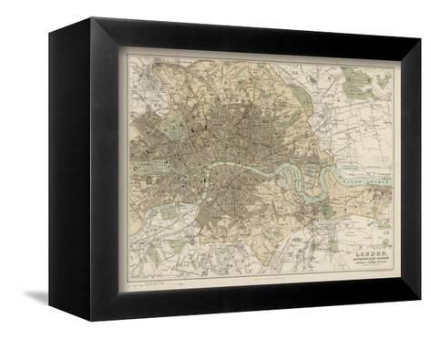 Map of London and Its Suburbs-J^ Bartholomew-Framed Canvas Print