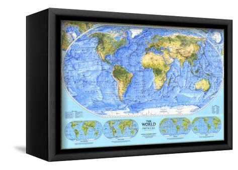 1994 World Physical Map-National Geographic Maps-Framed Canvas Print
