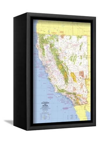 1974 Close-up USA, California and Nevada Map-National Geographic Maps-Framed Canvas Print