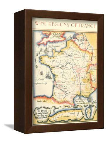 Map of French Wine Country--Framed Canvas Print