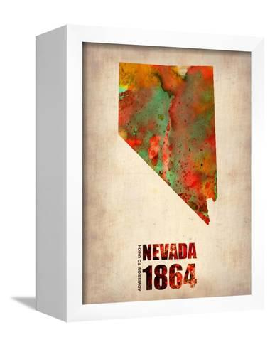 Nevada Watercolor Map-NaxArt-Framed Canvas Print