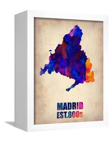 Madrid Watercolor Map-NaxArt-Framed Canvas Print