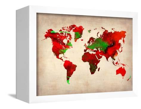 World Watercolor Map 4-NaxArt-Framed Canvas Print