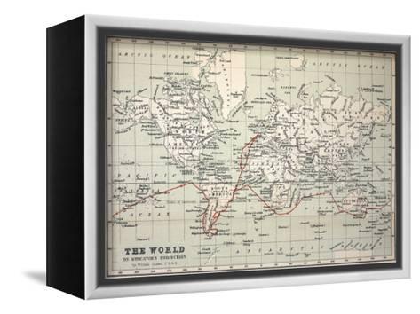 Map Darwin's Beagle Voyage South America-Paul Stewart-Framed Canvas Print