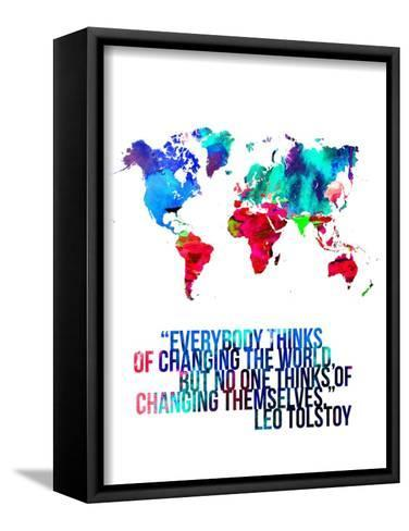 World Map Quote Leo Tolstoy-NaxArt-Framed Canvas Print