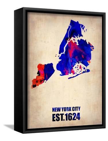 New York City Watercolor Map 1-NaxArt-Framed Canvas Print