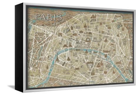 Monuments of Paris Map-Hugo Wild-Framed Canvas Print