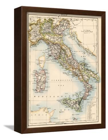 Map of Italy, 1870s--Framed Canvas Print