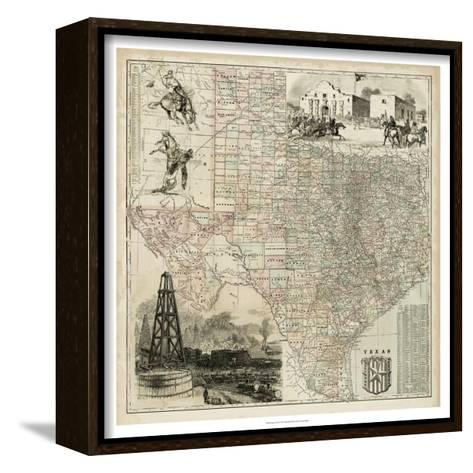 Map of Texas--Framed Canvas Print