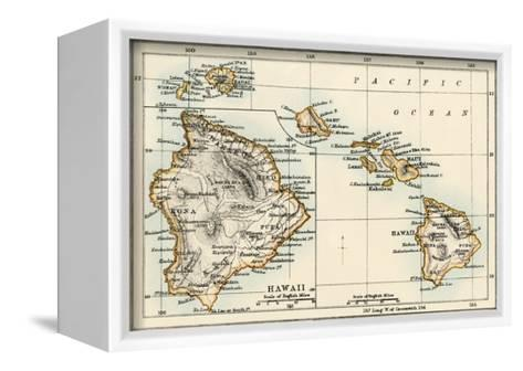 Map of the Hawaiian Islands, 1870s--Framed Canvas Print