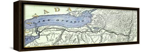 Map of the Erie Canal across New York State, 1800s--Framed Canvas Print