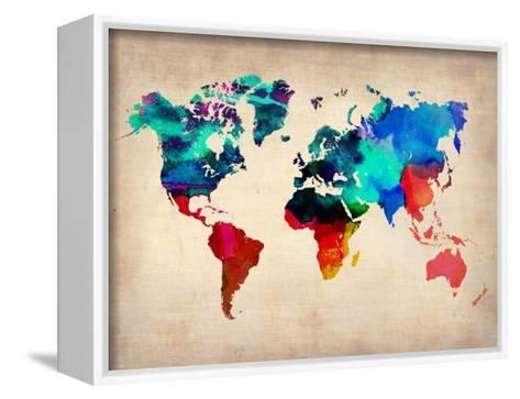 World Watercolor Map 1-NaxArt-Framed Canvas Print