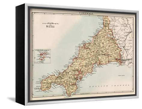 Map of Cornwall, England, 1870s--Framed Canvas Print