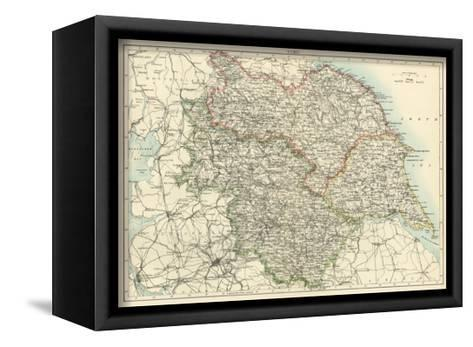 Map of Yorkshire, England, 1870s--Framed Canvas Print