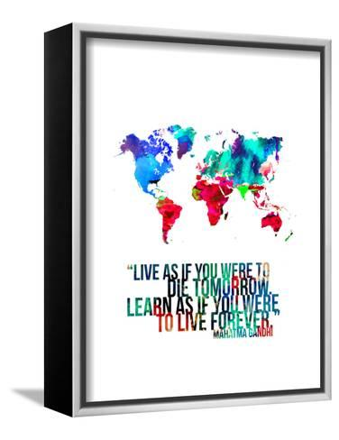 World Map Quote Mahatma Gandi-NaxArt-Framed Canvas Print