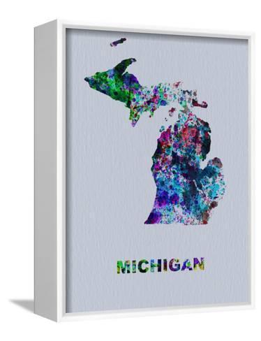 Michigan Color Splatter Map-NaxArt-Framed Canvas Print