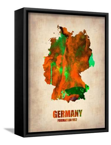 Germany Watercolor Map-NaxArt-Framed Canvas Print