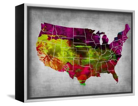 Usa Watercolor Map 4-NaxArt-Framed Canvas Print