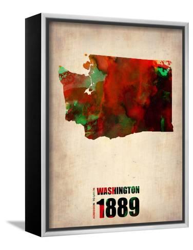 Washington Watercolor Map-NaxArt-Framed Canvas Print