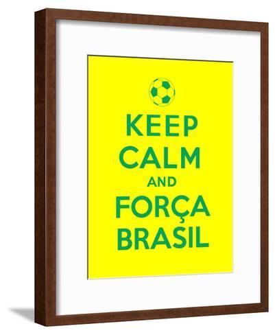 Keep Calm and Forca Brasil-Thomaspajot-Framed Art Print