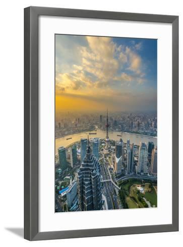 China, Shanghai, View over Pudong Financial District, Huangpu River Beyond-Alan Copson-Framed Art Print