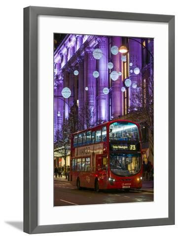 England, London, Soho, Oxford Street, Chirstmas Decorations and London Bus-Walter Bibikow-Framed Art Print