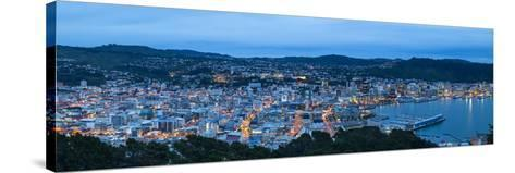 Elevated View over Central Wellington Illuminated at Dusk, Wellington, North Island, New Zealand-Doug Pearson-Stretched Canvas Print