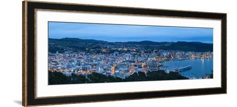 Elevated View over Central Wellington Illuminated at Dusk, Wellington, North Island, New Zealand-Doug Pearson-Framed Art Print