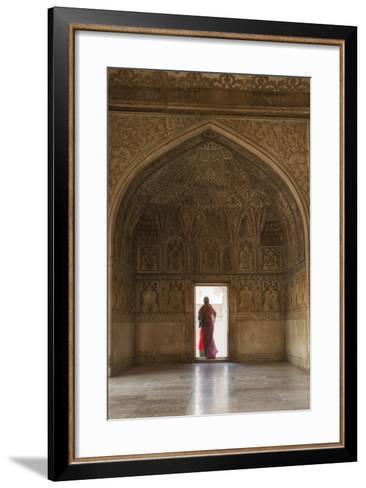 India, Uttar Pradesh, Agra, Agra Fort, a Woman in a Red Saree Walks Through the Interior-Alex Robinson-Framed Art Print
